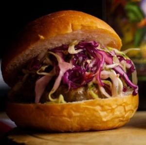Burger with Slaw in Brioche Bun